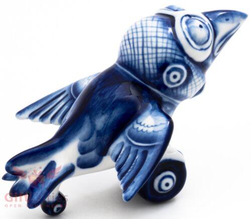Russian Gzhel porcelain Raven Crow Bird - Aircraft - Pilot all in one