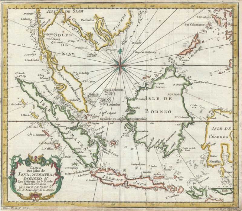 1750 Bellin Map of the East Indies (Sumatra, Malay, Java, Borneo)