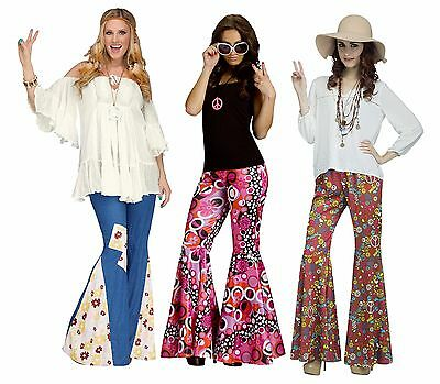 Adult 60s 70s Hippie Groovy Flower Child Bell Bottom Denim Peace Pants Costume - Hippie Flower Child