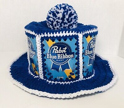 NEW Handmade Crochet PABST BLUE RIBBON EASY Beer Can Hat Retro Party Cap