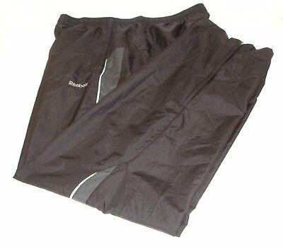 Reebok Mens Mesh Lined Track Suit Pants Black White Stripe Lightweight M - Lightweight Mesh Suit