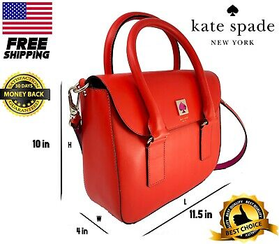 KATE SPADE CAMERON LEATHER SATCHEL HANDBAG SHOULDER BAG PURSE Red Orange