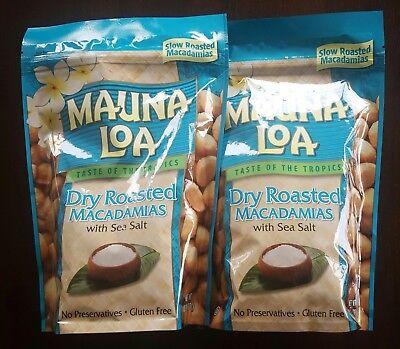 Dry Roasted Macadamia Nuts - Mauna Loa Dry Roasted Macadamia Nuts with Sea Salt - 2 Bags (10 oz per bag)