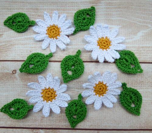 Crochet Flower Daisy Leaves Applique Embellishment White Yellow Green 12 pcs