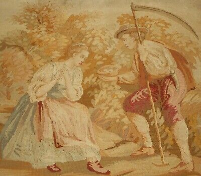 Antique French Tapestry Bed Panel Aubusson Woven Textile Fabric~ Couple Sheep