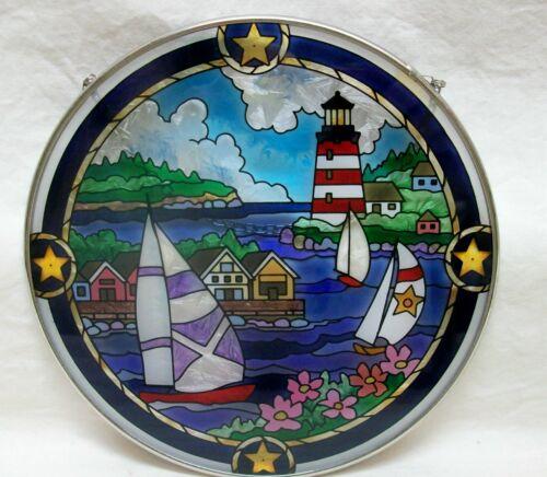"NEW Harbor Scene Suncatcher ""Joan Baker"" Hand Painted Round Glass 6-1/2"" Sailing"