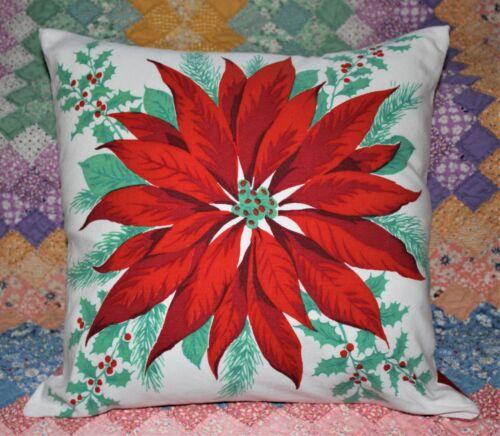 Throw Pillow Cover From Vintage Wilendur Era Christmas Poinsettia Tablecloth