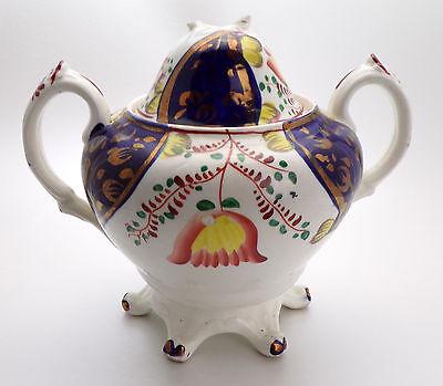 Antique Gaudy Welsh Tulip Pattern Sucrier/Sugar Bowl  13cms