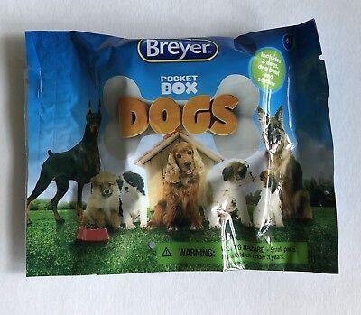 BREYER Pocket Box DOGS NEW Unopened Blind SURPRISE Bag 2 Dogs Bowl Sticker - E