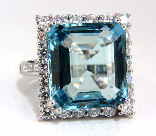 "Gia Certified 17.03ct Natural ""blue"" Aquamarine Diamonds Ring Vivid 18kt"