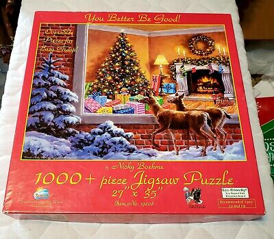 Christmas YOU BETTER BE GOOD! 1000 Pc Jigsaw Puzzle Nicky Boehme DEER