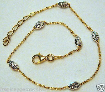 "Italy Sterling Silver .925 & 14k Gold Ankle Bracelet 9""-10"" with Silver Bead"