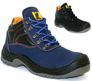 mens leather canvas safety boots work hiker steel