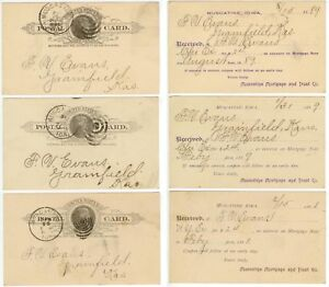 1888-89 Muscatine Iowa Mortgage and Trust Co postal cards