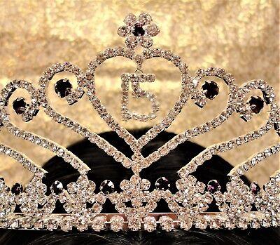 Lavender Rhinestone Sweet 15 Tiara Quince Crown with Charm - 15 Tiara