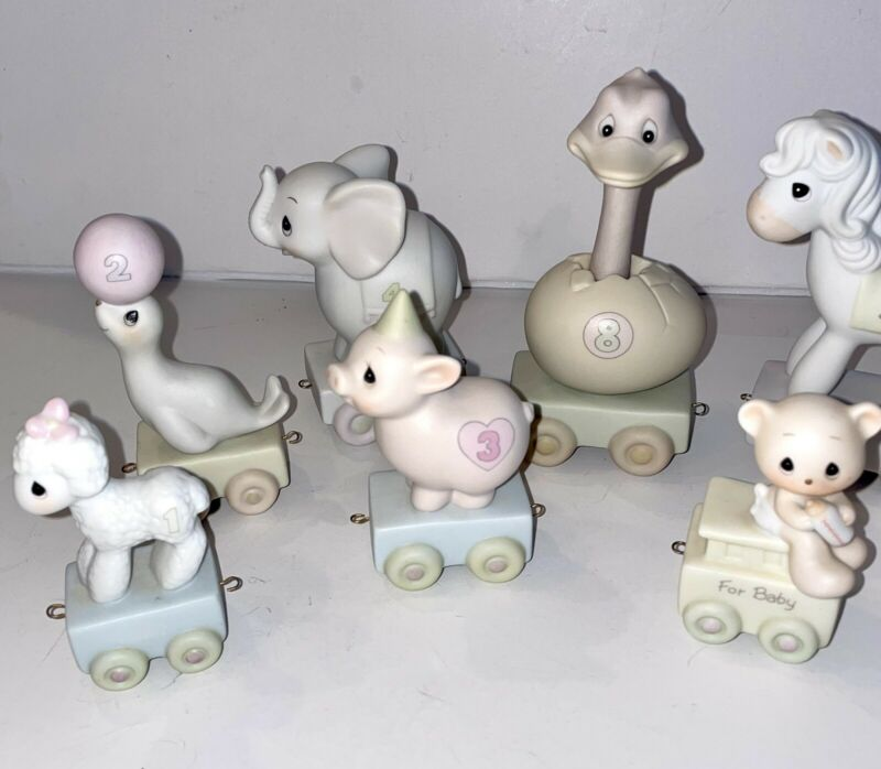 8 pc Precious Moments Birthday Train Animal Lot 1 2 3 4 8 9 Whale & For Baby