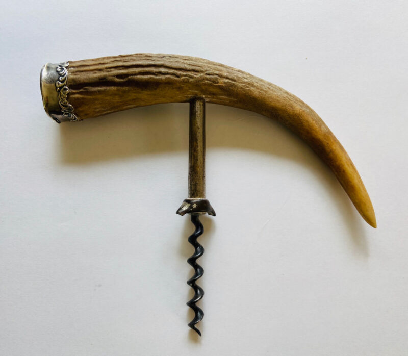 Antique Corkscrew w/Antler Handle and Sterling Cap