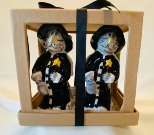 CAT WIZARD MAGIC SALT and PEPPER SHAKERS - NEW!