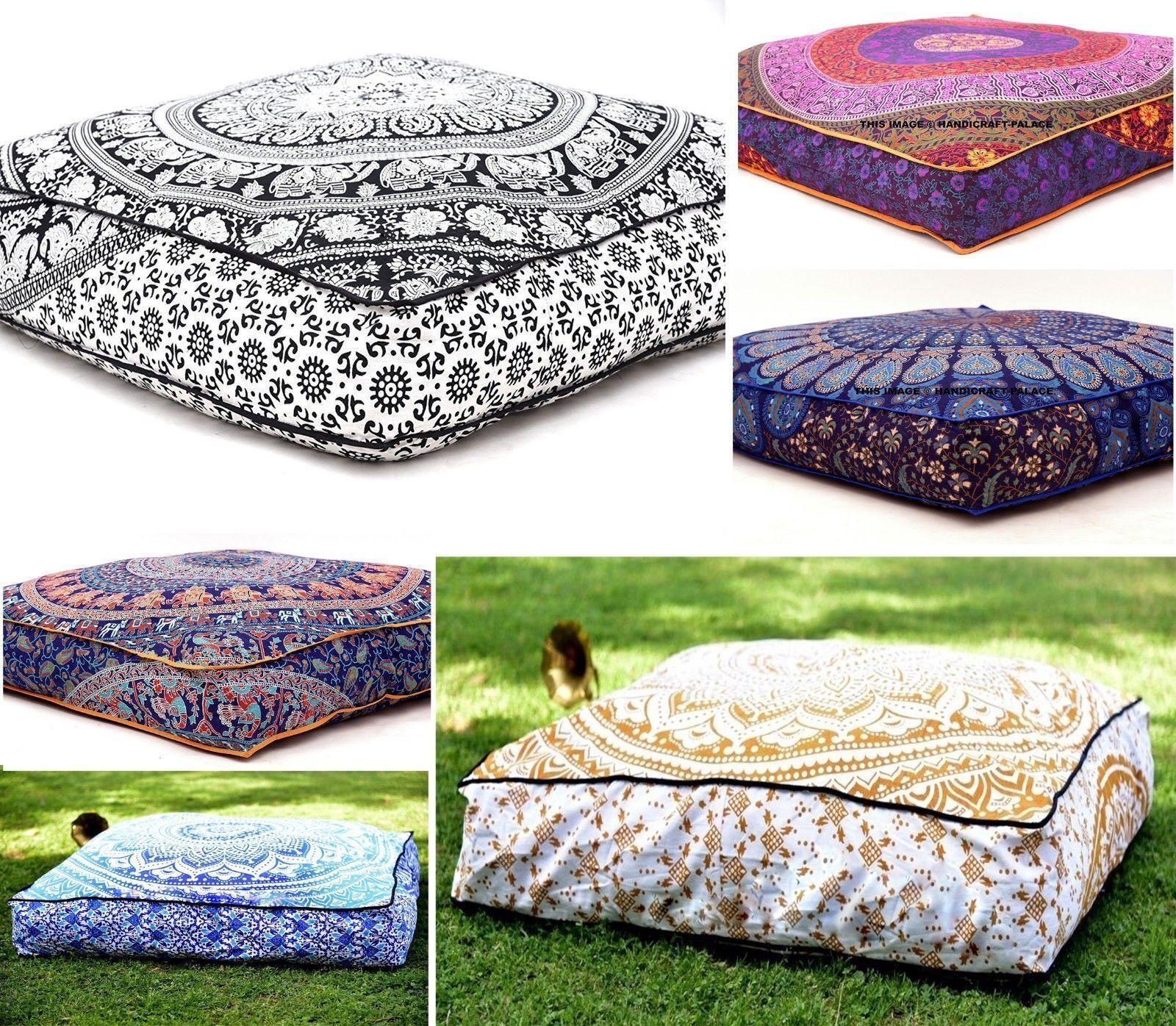 Indian Square Mandala Floor Pillow Case Boho Throw Cushion O