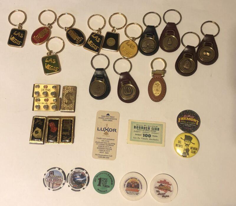 Las Vegas Memorabilia Lot - Chips / Pins / Money Clips / Keychains