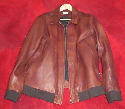 Helmut Lang Men's Brown Leather Bomber Jacket LX Minimally Worn - circa 2007