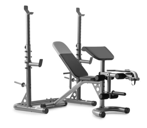 Weider Workout Bench XRS 20 Olympic with Independent Squat Rack and Preacher Pad