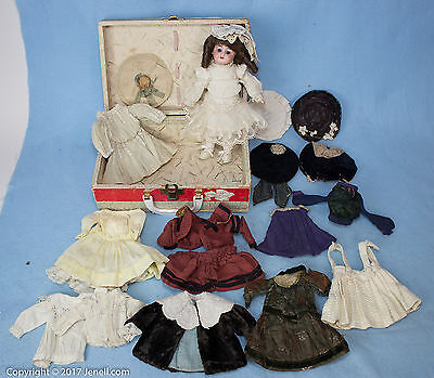 """9"""" Antique Bisque Doll w Jointed Composition Body & Fabulous Wardrobe"""