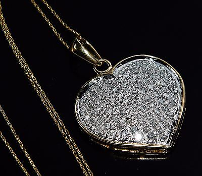 9ct Gold 1.00ct Diamond Heart Large Pendant & Chain - UK Hallmarked