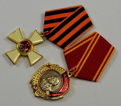 2 Russian/Soviet/USSR Service Medals. Order of Lenin and Red Eagle. Highest Decs