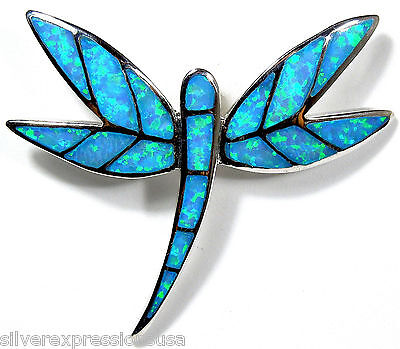 Blue Fire Opal Inlay Genuine 925 Sterling Silver Dragonfly Pendant For Necklace ()