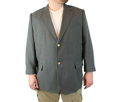 Kings Court Blazer 52R Gray Polyester Rayon Gold Button Sports Coat Suit Jacket