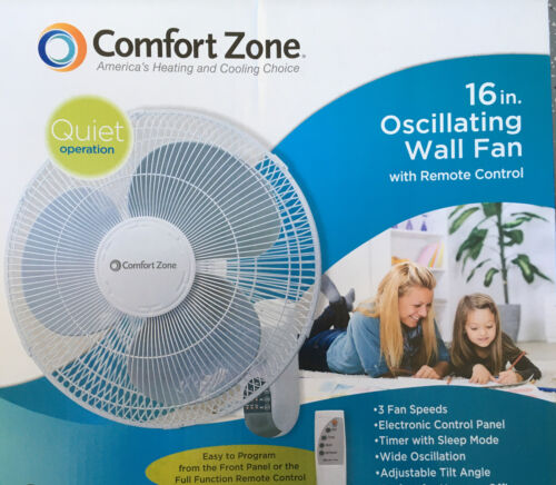"""Comfort Zone CZ16WR 16"""" Quiet 3-Speed Wall Mount Fan with"""