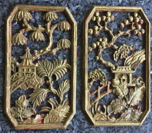 pair of  chinese wood cabinet embellishment