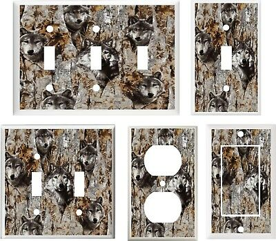 TIMBER WOLF IN TREE CAMO CAMOUFLAGE  IMAGE LIGHT SWITCH COVER PLATE OT OUTLET
