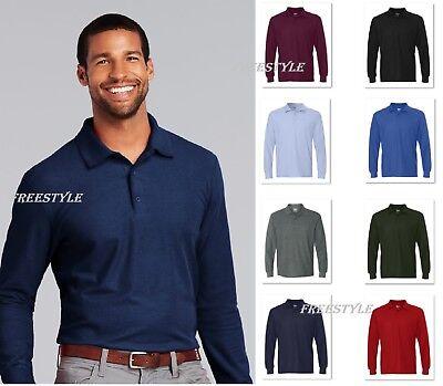 (Gildan DryBlend Double Pique Long Sleeve Mens Sport Polo T-Shirt 72900-G729 SALE)