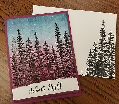 Christmas winter scene Handmade Greeting Card, tree, scenery, elegant ()