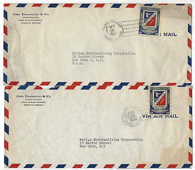 Dominican Republic 1946 - 6 Vintage Air Mail stamped envelops post marked 1946