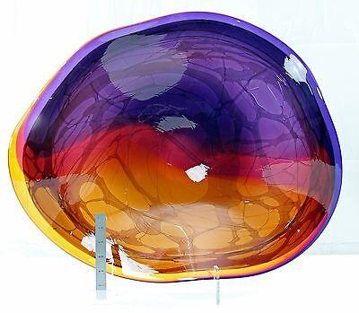 Dennis Mullen Huge Blown Glass Bowl Fine Scultpture Art New