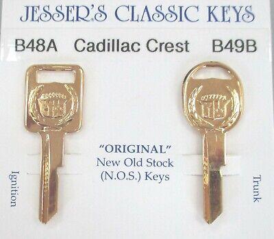 Eldorado Original NOS A&B Yellow Gold Cadillac Crest Wreath Key Set B48A & B49B