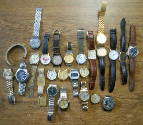 25 Vintage Mens Quartz Wrist Watches As Is For Parts Elgin Pulsar Peugeot Plus