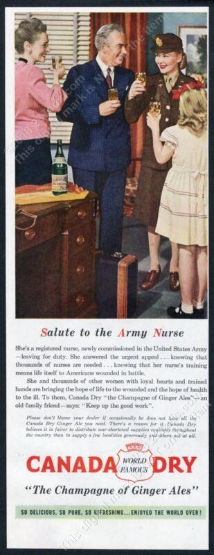 1945 US Army Nurse photo dedication Canada Dry ginger ale vintage print ad