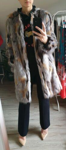 MARC CAIN Fake Fur Mantel Kunstfell Kunstpelz Muster Grau Beige N3 / S 36 38