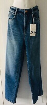 NWT ZARA Woman  Blue Z1975 WIDE LEG JEANS Faded High Waist 30'' Size USA 6 O1775