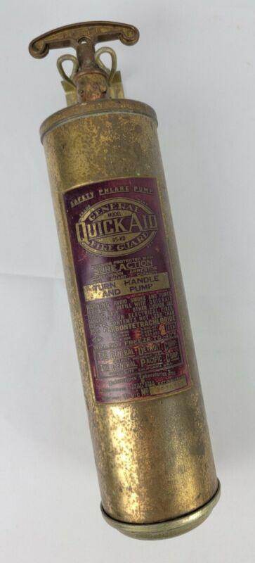 Vtg General Quick Aid Safety Phlare Pump Brass Fire Extinguisher w/Bracket
