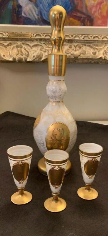 Antique Gilded Opaline Bohemian Glass Cordial Decanter & 3 Liquours