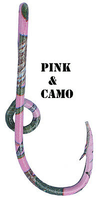 Custom Pink Camo Colored Eagle Claw Fish Hook Hat Pin Pink Cam0 Fish Hook Clip ()