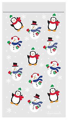 12 x CHEAP Christmas Loot Bags zipper Seal penguins & snowmen Party treat favour - Cheap Christmas Favors