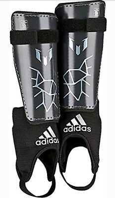 NEW Adidas Messi 10 Youth XL Shin Guards Night Grey/Matt Ice Metallic