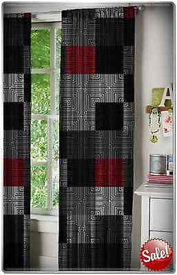Window Curtain Panels Set Of 2 52x84 Red Black White Grey Geometric Bedroom Home ()