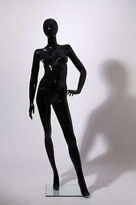 Female Mannequin Stand Full Body Black Glossy Egg Head Hand Made -4698-oh